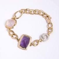Park Place Antique Jewelry 18kt Valente Amethyst Rose Quartz And Diamond Bracelet