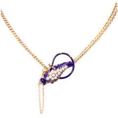 Antique Enamel Snake Necklace