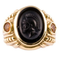 JUDITH RIPKA  Onyx and Intaglio and Citrine Ring