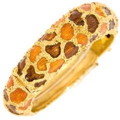 Giraffe Pattern Enamel Bangle Bracelet