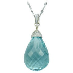 Majestic  180 Ct. Aquamarine Briolette Pendant with Diamonds