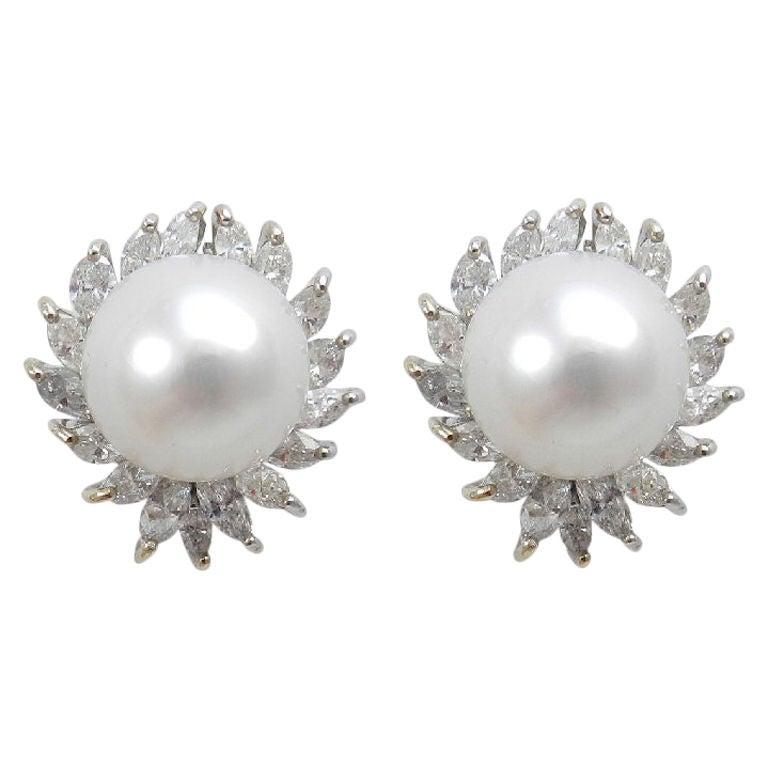 Marvelous South Sea Pearl and Diamond Earrings