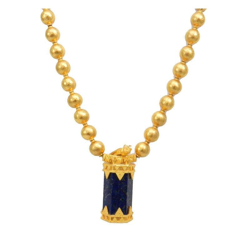 Unique High Karat Egyptian Lapis Necklace