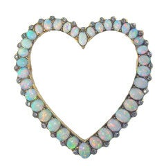 Vivid  Antique Opal Rose Cut Diamond Brooch