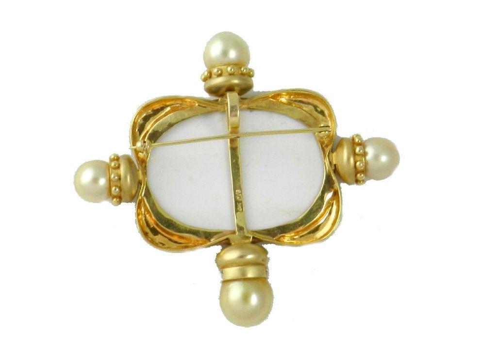 mazza b hunt intaglio pearl brooch at 1stdibs