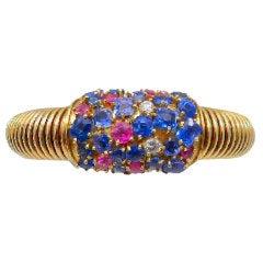 Retro Modern Sapphire Ruby and Diamond Bangle