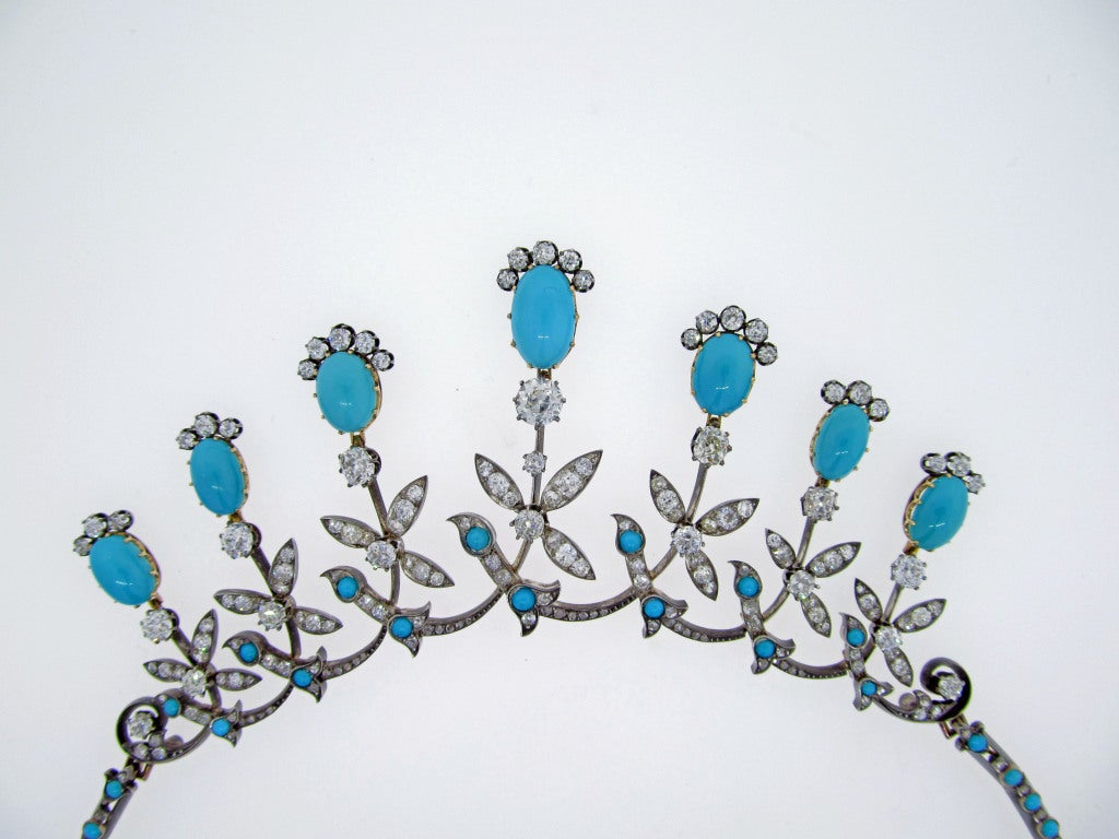 Extraordinary Antique Turquoise and Diamond Demi -Parure 2
