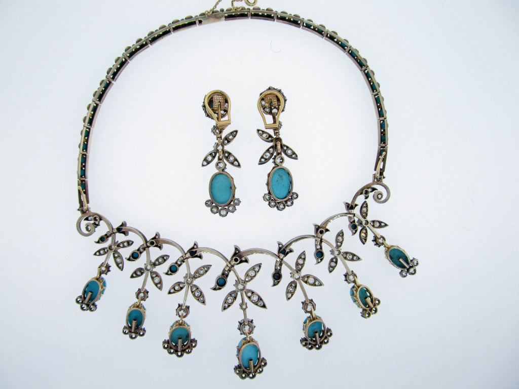 Extraordinary Antique Turquoise and Diamond Demi -Parure 3