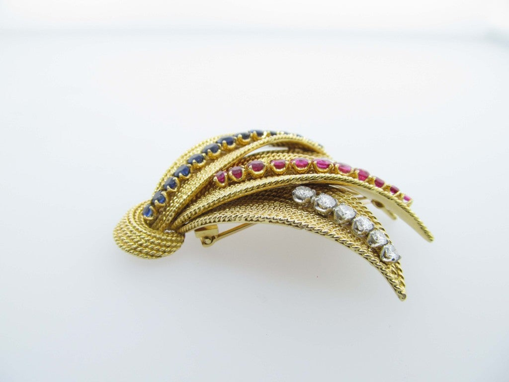 Glorious Ruby Sapphire and Diamond Brooch 2