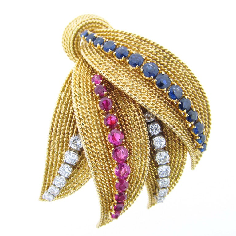 Glorious Ruby Sapphire and Diamond Brooch 1