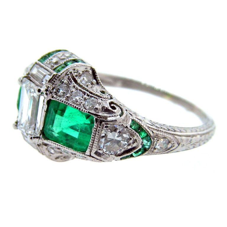 wonderful deco emerald and ring at 1stdibs