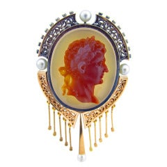French Classical Hardstone Carved Cameo Brooch Pendant