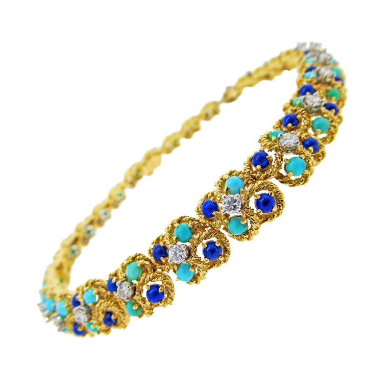 Collar of Lapis Lazuli Turquoise and Diamonds