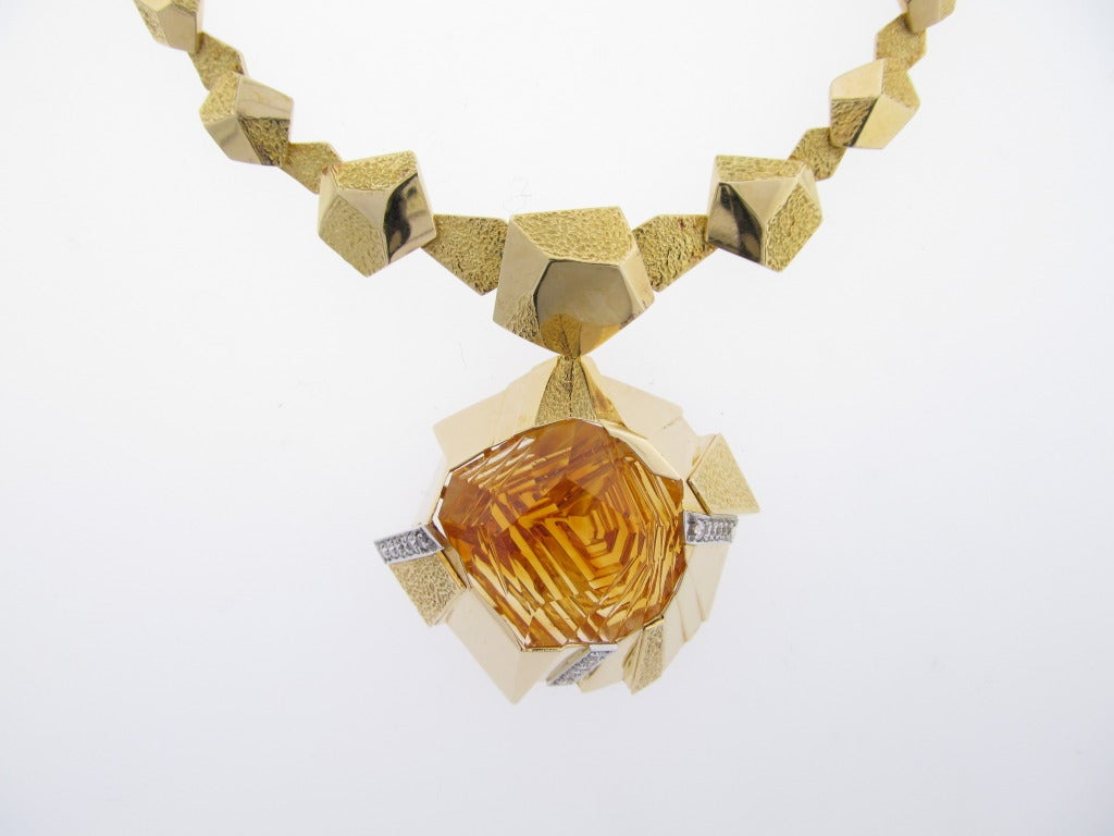 18kt. yellow gold handmade removable laser cut citrine and diamond pendant and necklace circa 1970.