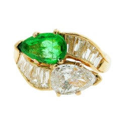 Emerald and Diamond Crossover Ring