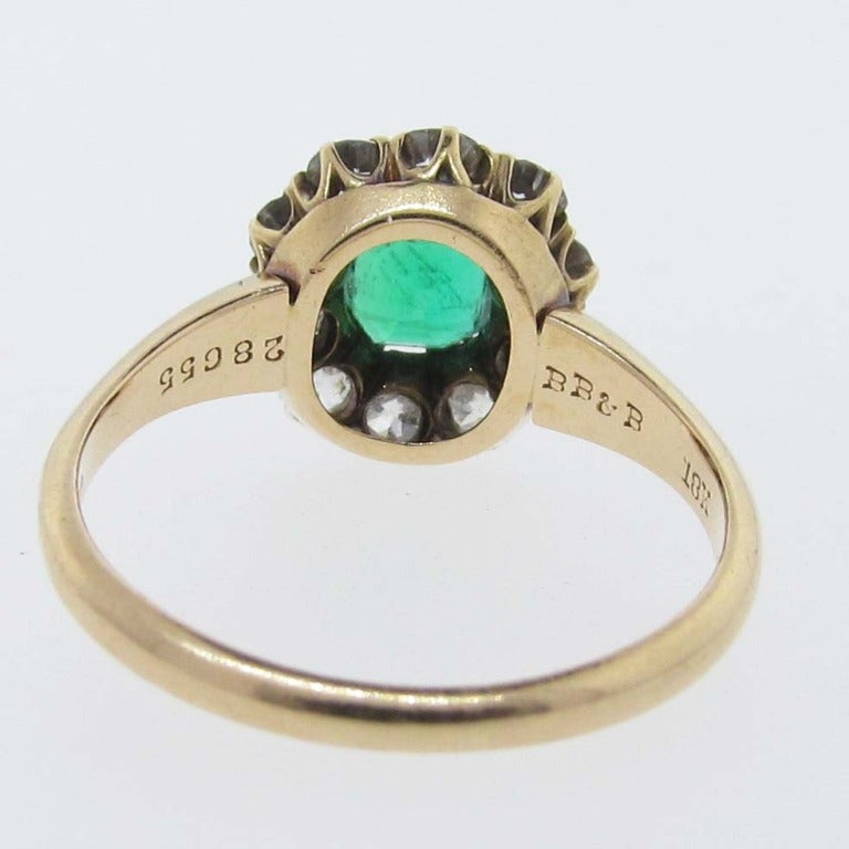 Antique BAILEY BANKS and BIDDLE Emerald and Diamond Ring at 1stdibs
