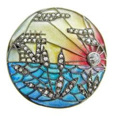 Glorious Art Nouveau Plique Enamel Diamond Brooch