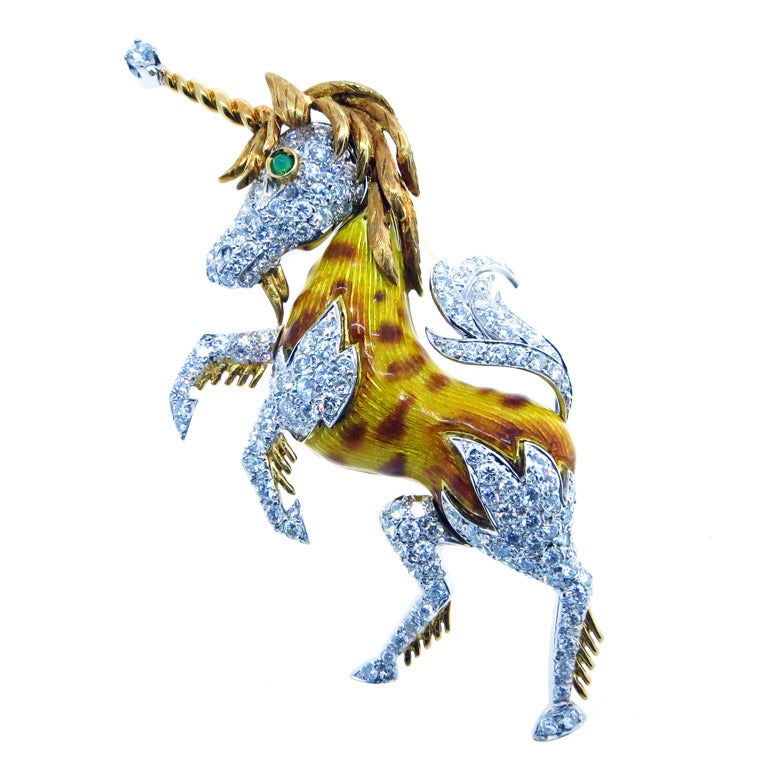 Enchanting Unicorn Brooch For Sale