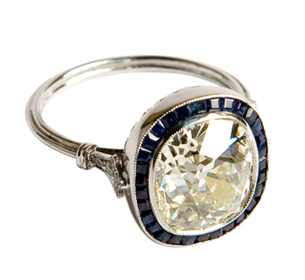 Art Deco 3 50ct Cushion Cut Diamond Ring With Sapphires At