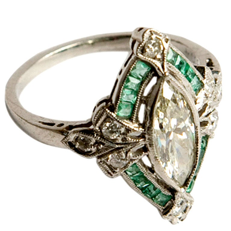 Art Deco Diamond And Emerald Engagement Ring At 1stdibs