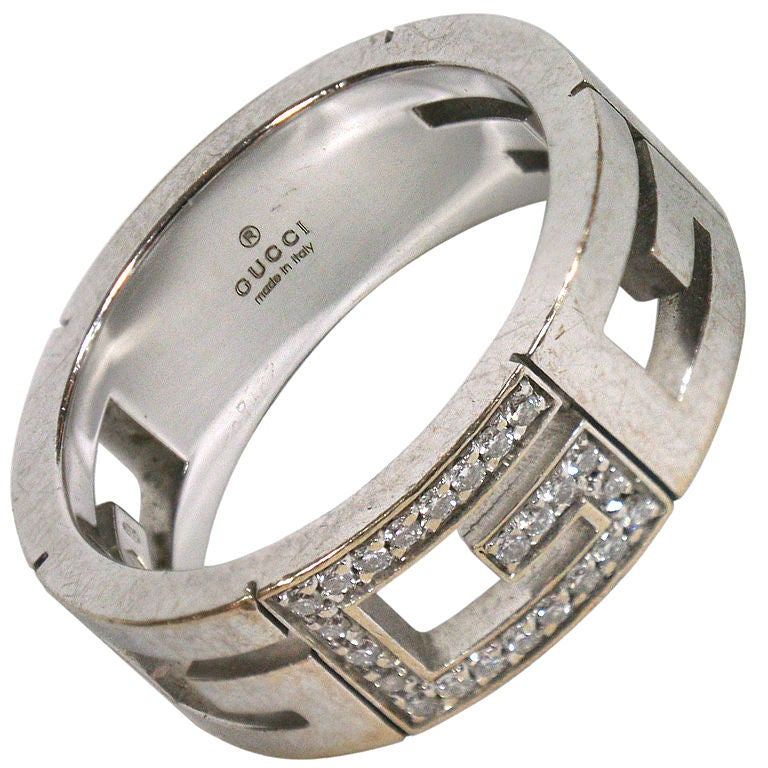 gucci white gold and mans ring at 1stdibs
