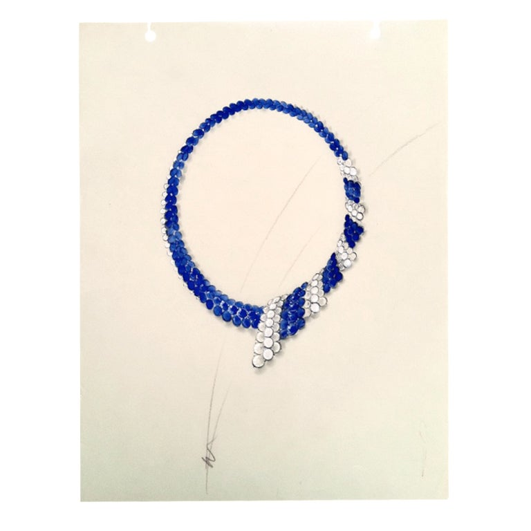 Sapphire Diamond Necklace Rendering Ca 1950 At 1stdibs