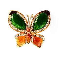 Chanel Poured Glass Butterfly Brooch 1980s