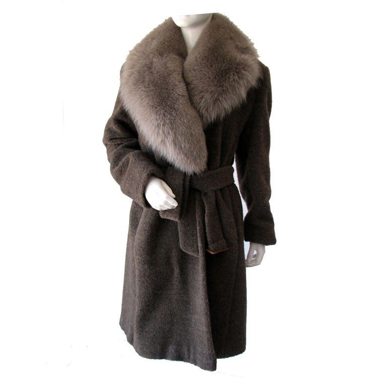Isaac Mizrahi Fox Fur Trimmed Coat 1990s At 1stdibs