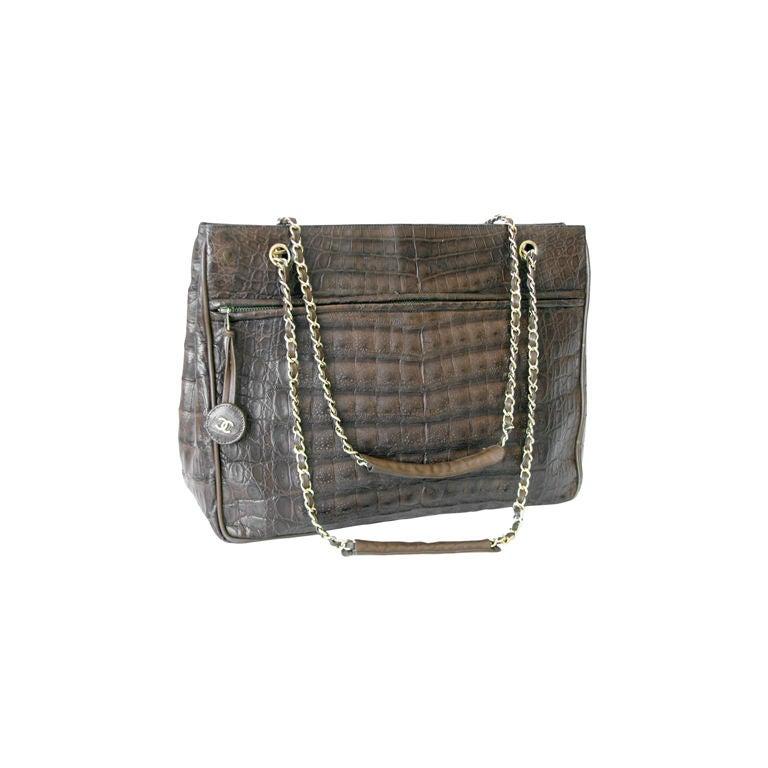 chanel crocodile shoulder bag 1980s at 1stdibs