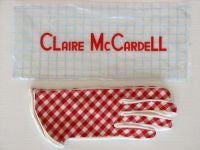 Fine vintage Claire McCardell red gingham gloves. Items unworn with original packaging.