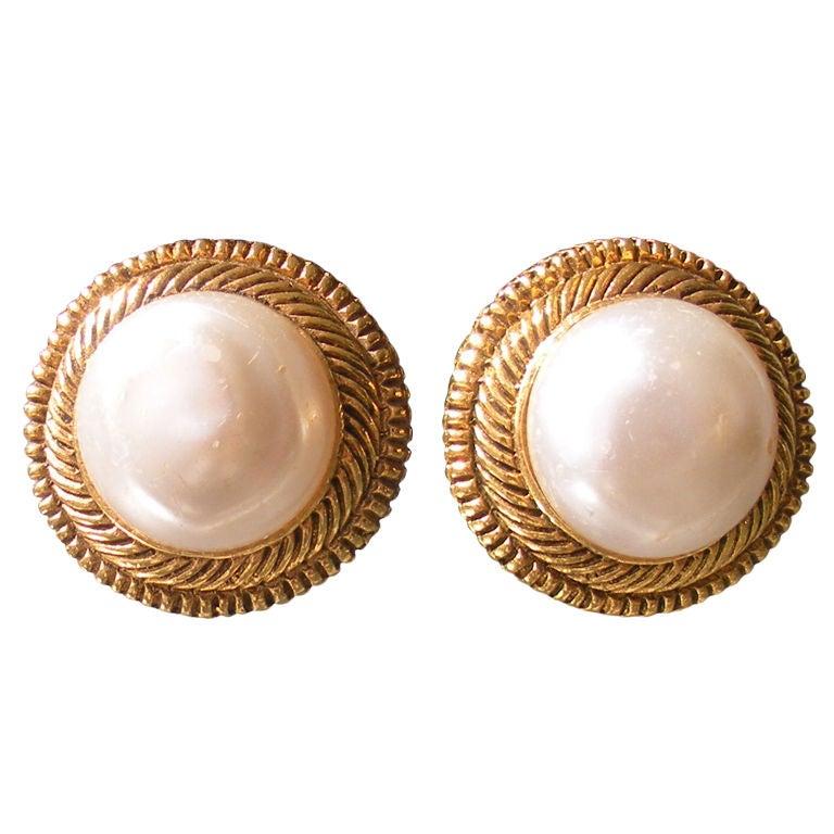 pair of vintage chanel pearl earrings at 1stdibs