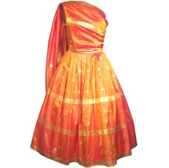 VINTAGE 1950s SARI SILK PARTY DRESS w SHOULDER SASH