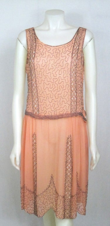 VINTAGE 1920s ROSE CHIFFON BEADED DRESS image 2