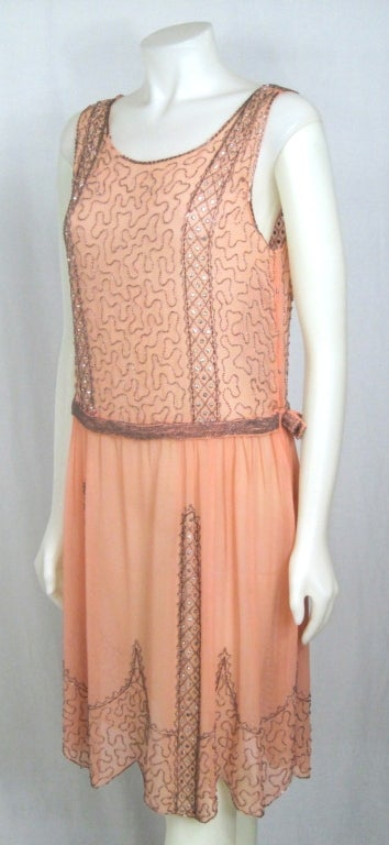 VINTAGE 1920s ROSE CHIFFON BEADED DRESS image 3