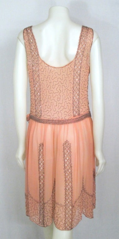 VINTAGE 1920s ROSE CHIFFON BEADED DRESS image 4
