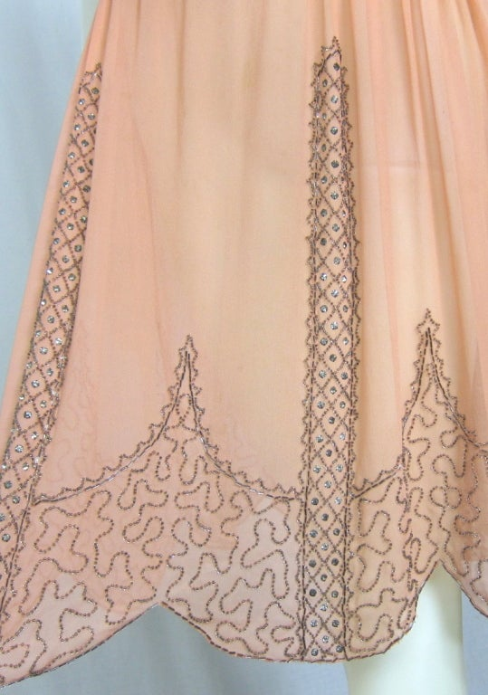 VINTAGE 1920s ROSE CHIFFON BEADED DRESS image 7