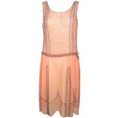 VINTAGE 1920s ROSE CHIFFON BEADED DRESS thumbnail 1