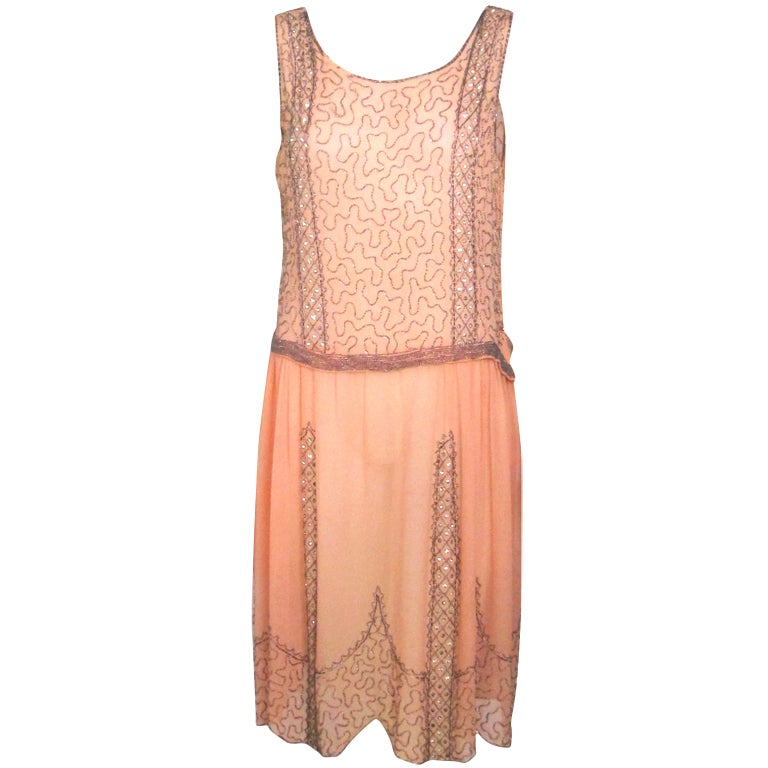 VINTAGE 1920s ROSE CHIFFON BEADED DRESS