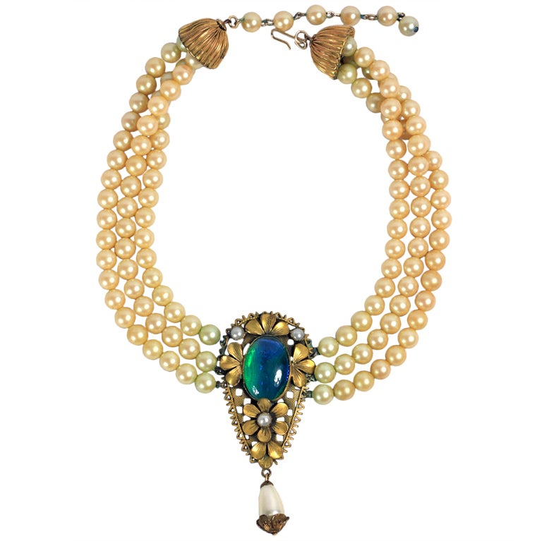 1940 S Triple Strand Pearl Blue Green Gold Stone Necklace