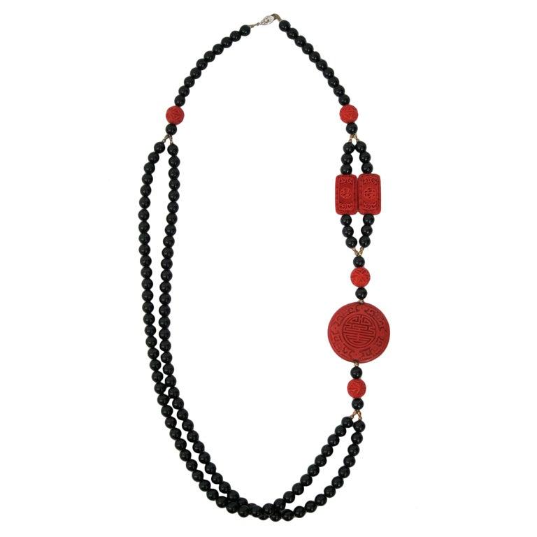 vintage bead strand carved cinnabar necklace at 1stdibs