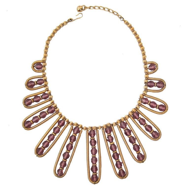 Vintage Napier Gold Purple Festoon Necklace At 1stdibs