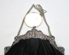 VINTAGE DECO BLACK VELVET PURSE w WINDMILL FRAME thumbnail 4