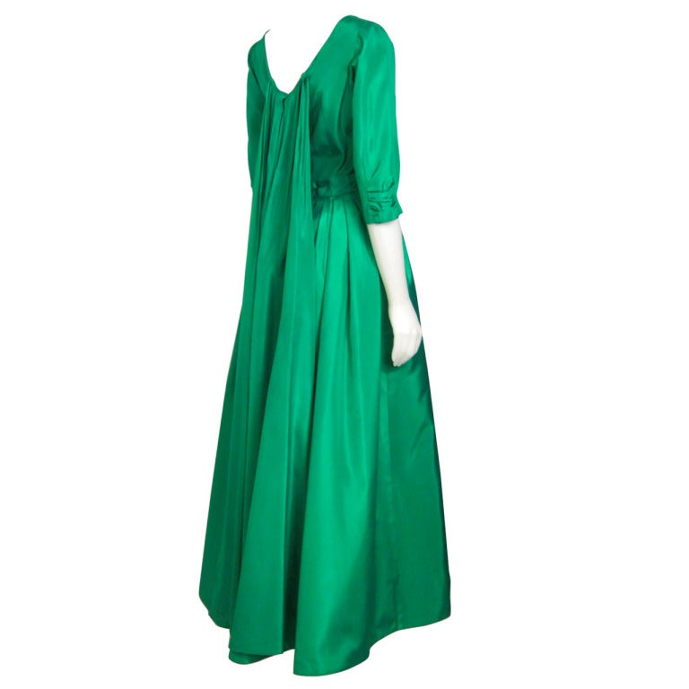 1960s Green Taffeta Watteau Back Ball Gown Red Carpet At