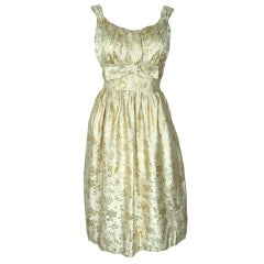 VINTAGE  1950 MAD MEN GOLD & CREAM SHELF BUST  PARTY DRESS LG