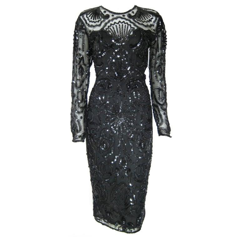 Vintage Black Art Deco Style Illusion Sequin Party Coctail