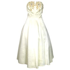 1950 STRAPLESS  SATIN SEQUIN FLORA BUST WEDDING PARTY DRESS