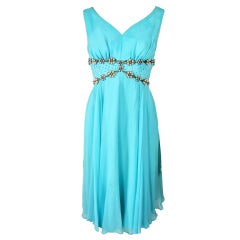 1960's AQUA BEADED PEARLS STUDDED RHINESTONES PARTY DRESS