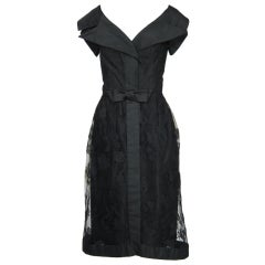 1950s BLACK SILK TAFFETA & LACE COCKTAIL PARTY DRESS