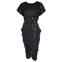 VINTAGE BLACK RUCHED COCKTAIL DRESS w SEQUINS