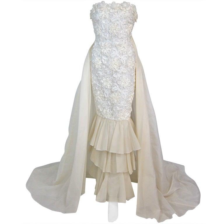 Vintage 1980s Strapless Ribbonwork Mermaid Wedding Dress W